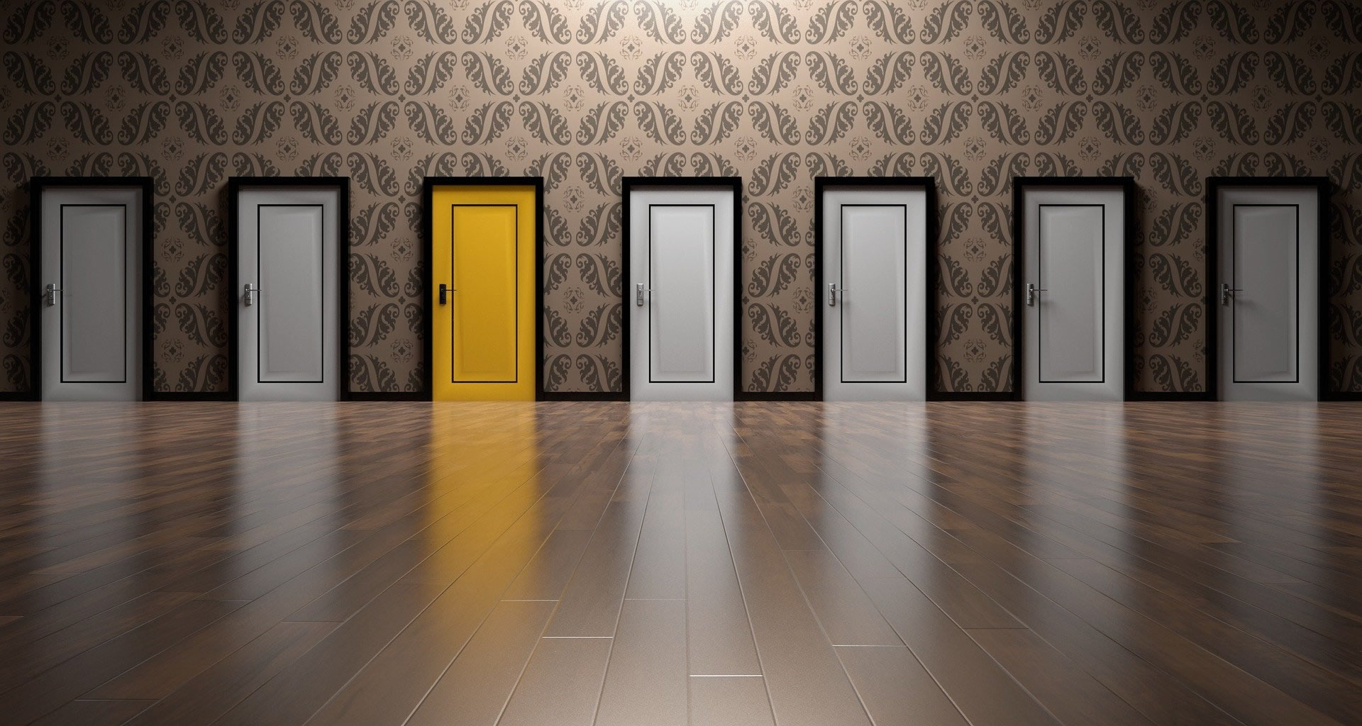 Image of doors, one is yellow